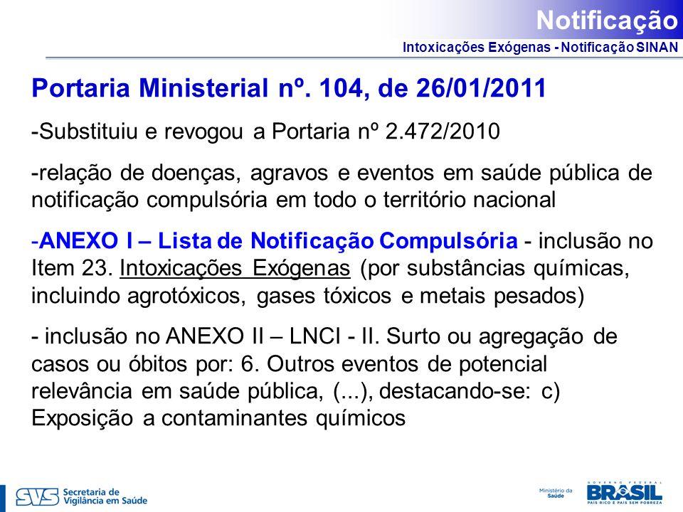 Portaria Ministerial nº. 104, de 26/01/2011