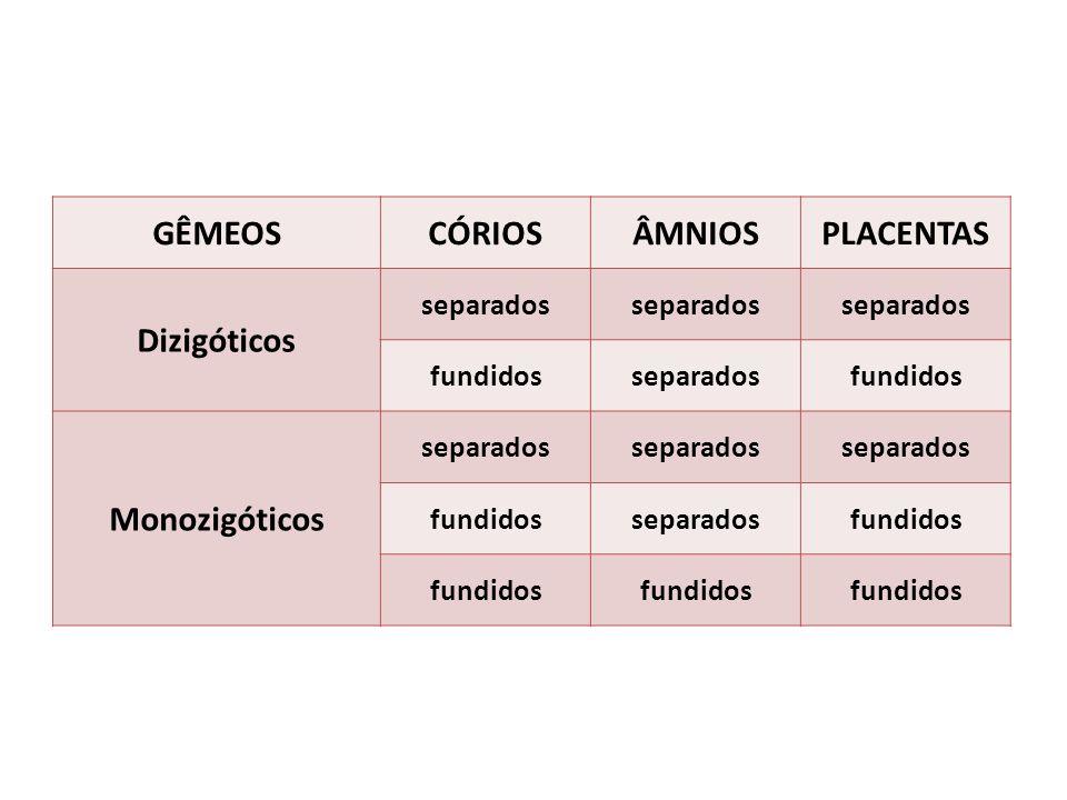 GÊMEOS CÓRIOS ÂMNIOS PLACENTAS Dizigóticos Monozigóticos