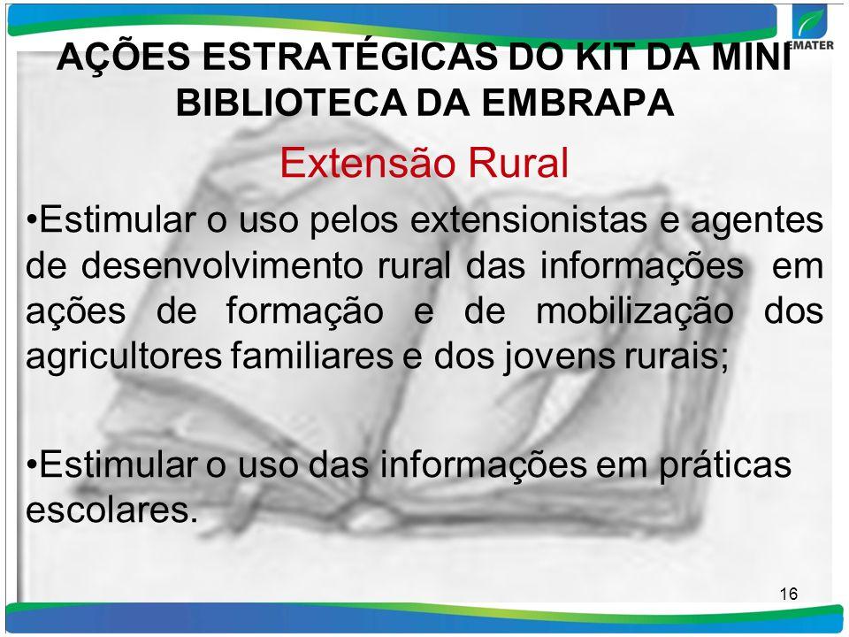 AÇÕES ESTRATÉGICAS DO KIT DA MINI BIBLIOTECA DA EMBRAPA