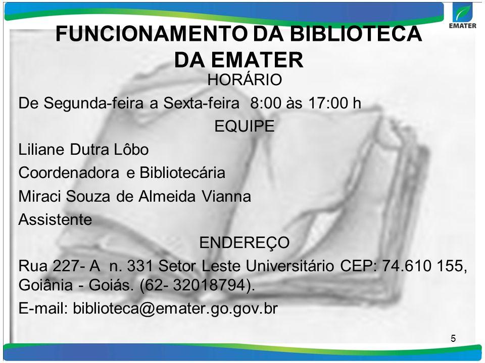 FUNCIONAMENTO DA BIBLIOTECA DA EMATER