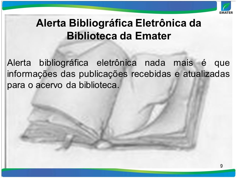 Alerta Bibliográfica Eletrônica da Biblioteca da Emater
