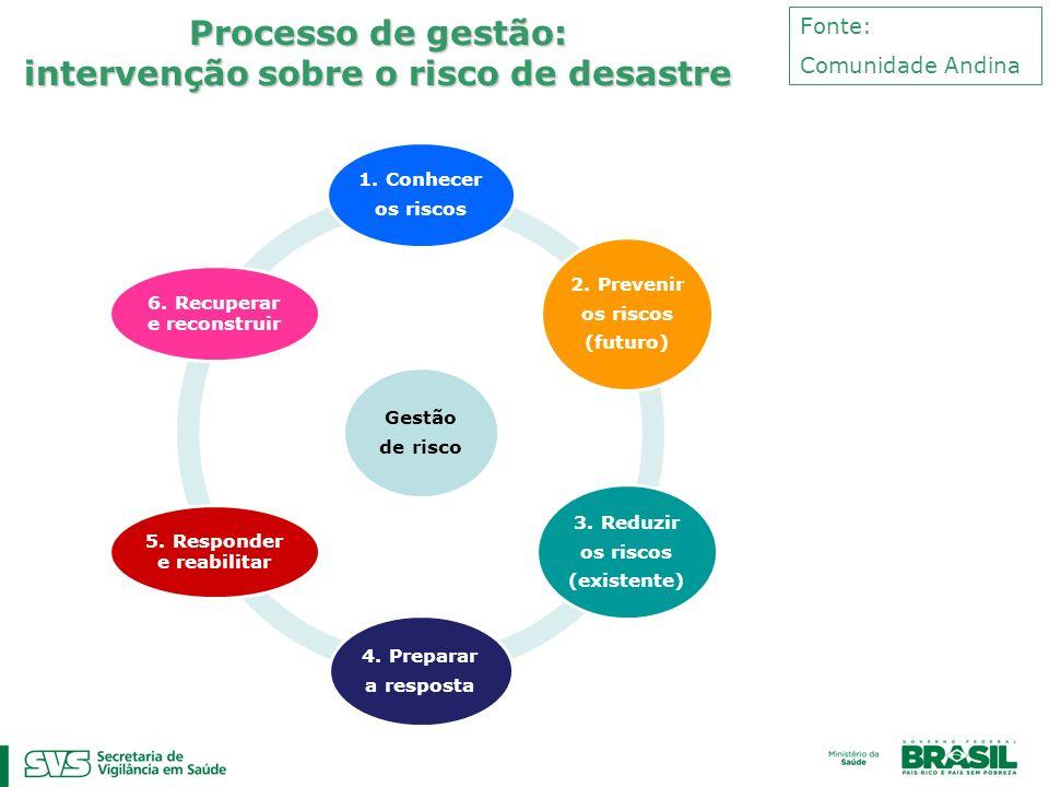Processo de gestão: intervenção sobre o risco de desastre