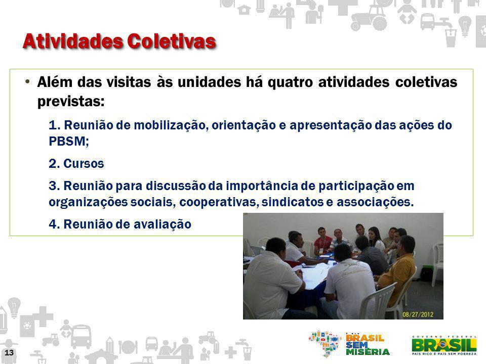 Atividades Coletivas Além das visitas às unidades há quatro atividades coletivas previstas: