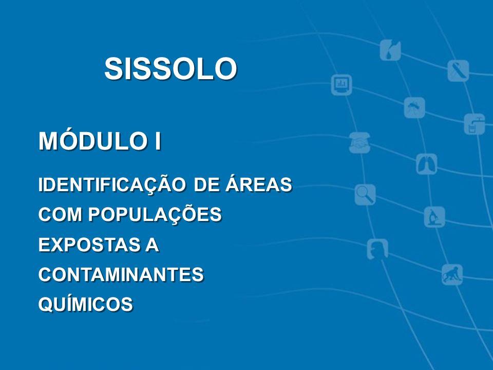 SISSOLO MÓDULO I IDENTIFICAÇÃO DE ÁREAS COM POPULAÇÕES EXPOSTAS A CONTAMINANTES QUÍMICOS 16