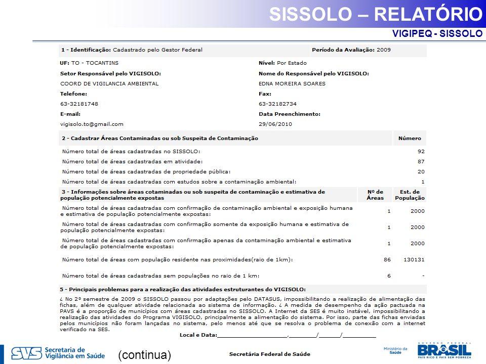 SISSOLO – RELATÓRIO (continua)