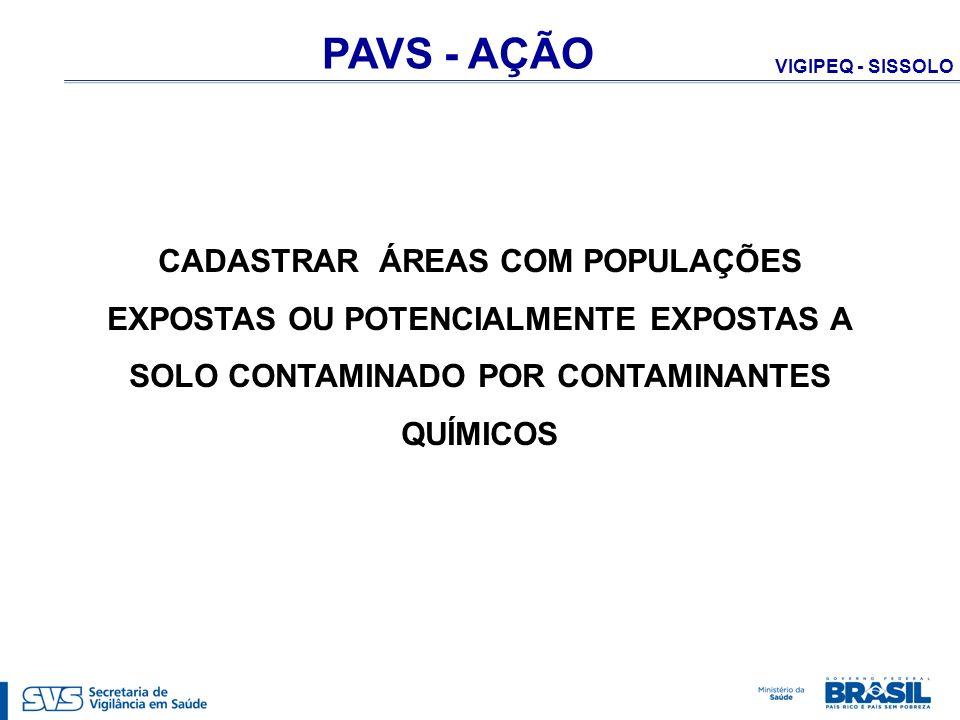 PAVS - AÇÃO CADASTRAR ÁREAS COM POPULAÇÕES EXPOSTAS OU POTENCIALMENTE EXPOSTAS A SOLO CONTAMINADO POR CONTAMINANTES QUÍMICOS.