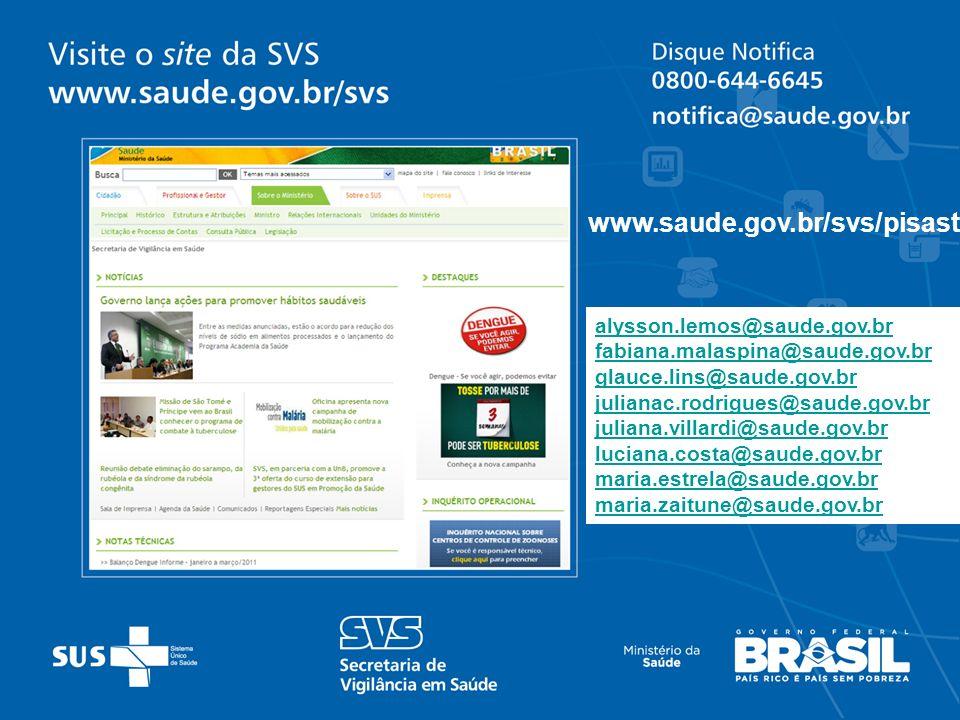 www.saude.gov.br/svs/pisast alysson.lemos@saude.gov.br
