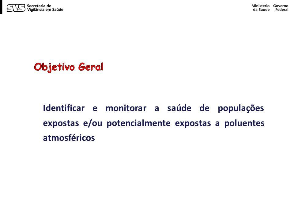 Objetivo Geral Identificar e monitorar a saúde de populações expostas e/ou potencialmente expostas a poluentes atmosféricos.