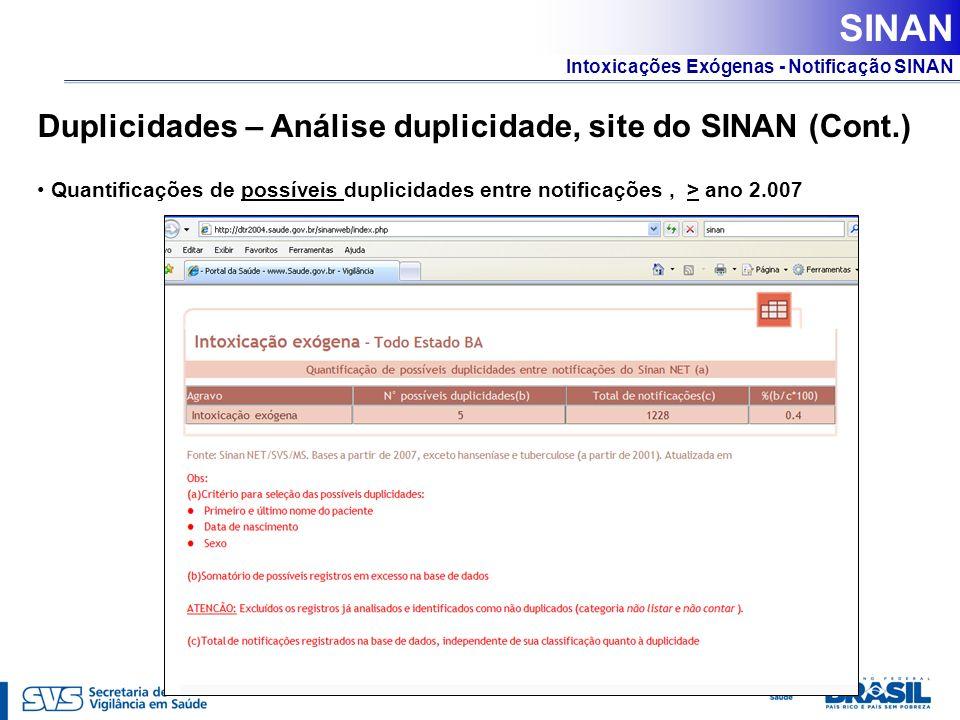 SINAN Duplicidades – Análise duplicidade, site do SINAN (Cont.)