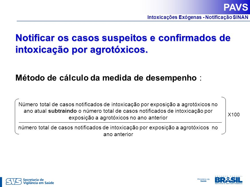 PAVS Notificar os casos suspeitos e confirmados de intoxicação por agrotóxicos. Método de cálculo da medida de desempenho :