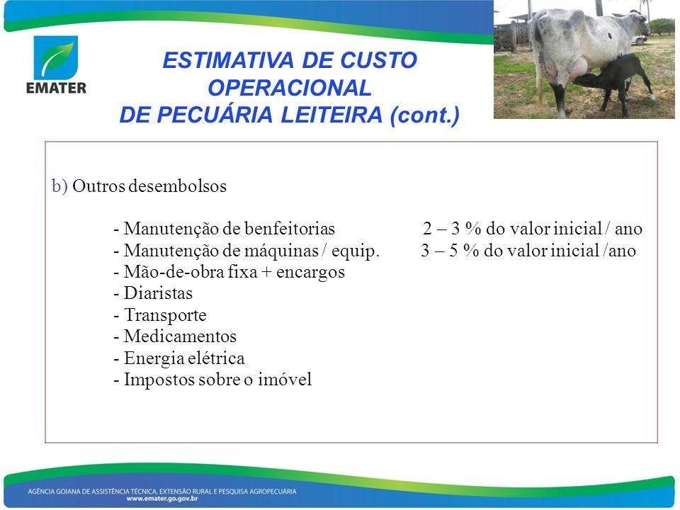 ESTIMATIVA DE CUSTO OPERACIONAL DE PECUÁRIA LEITEIRA (cont.)