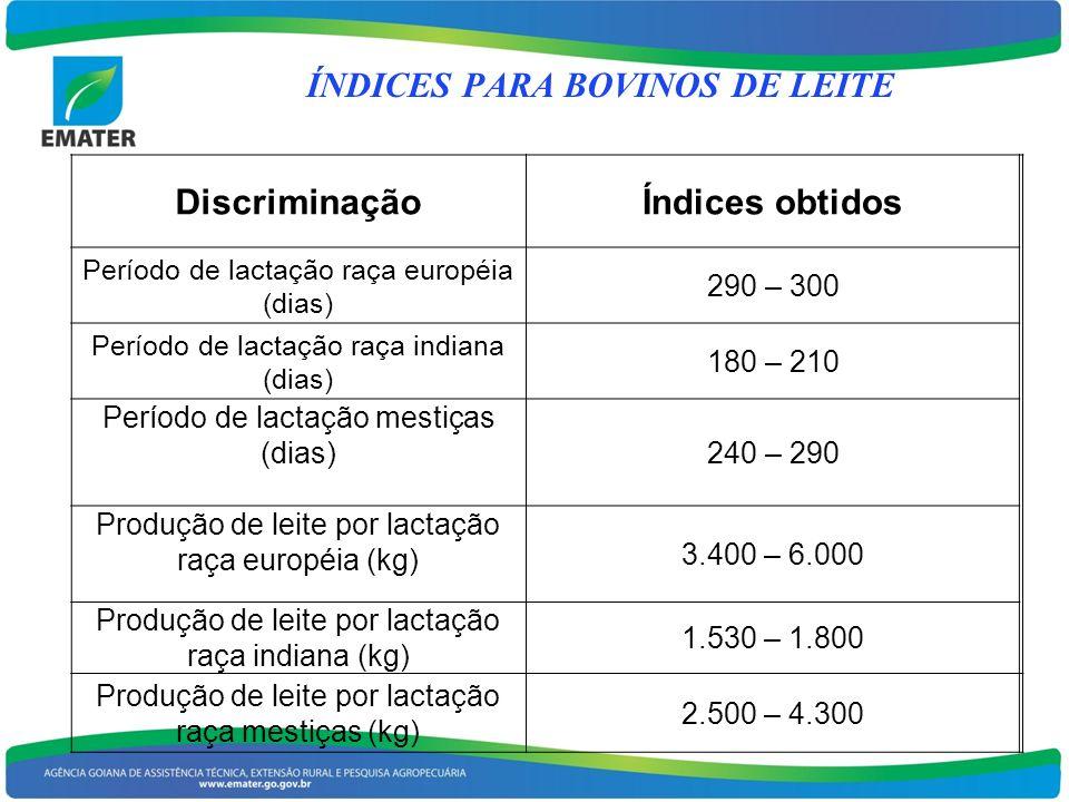 ÍNDICES PARA BOVINOS DE LEITE