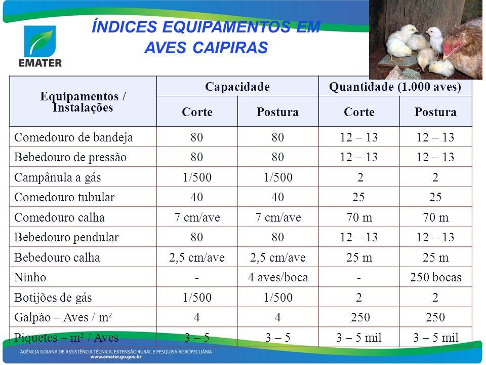 ÍNDICES EQUIPAMENTOS EM Equipamentos / Instalações