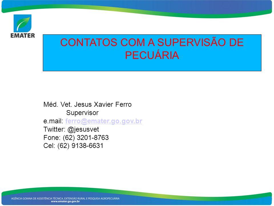 CONTATOS COM A SUPERVISÃO DE PECUÁRIA