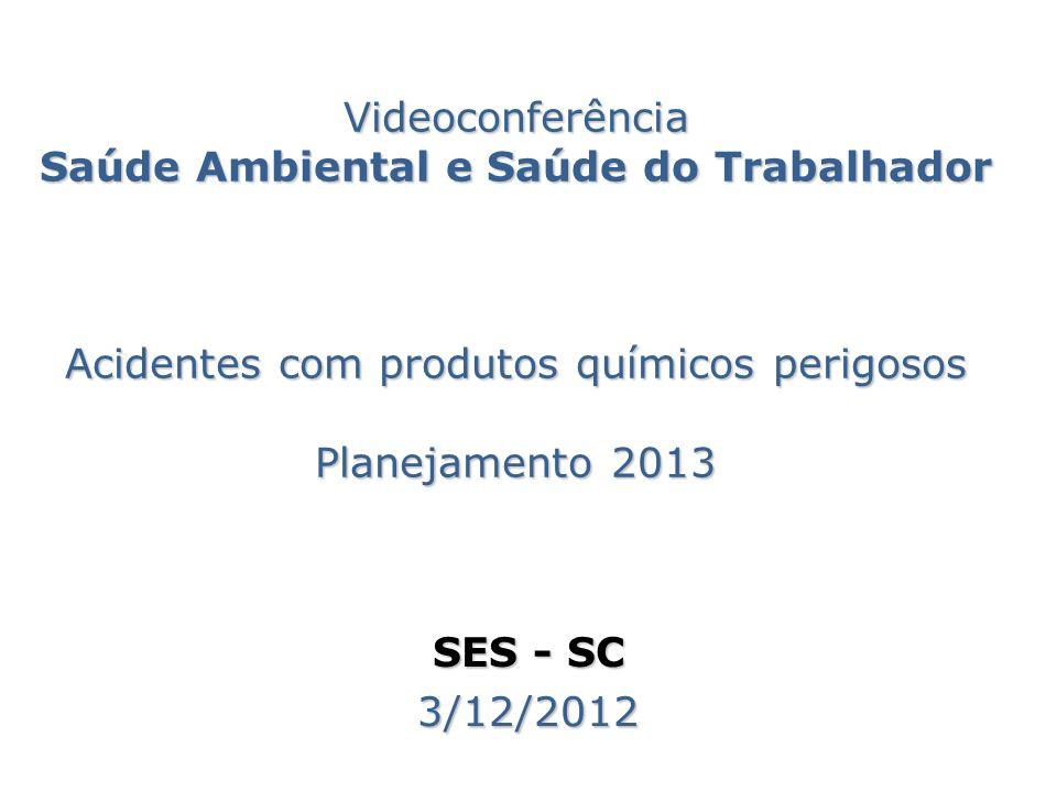 Videoconferência Saúde Ambiental e Saúde do Trabalhador Acidentes com produtos químicos perigosos Planejamento 2013
