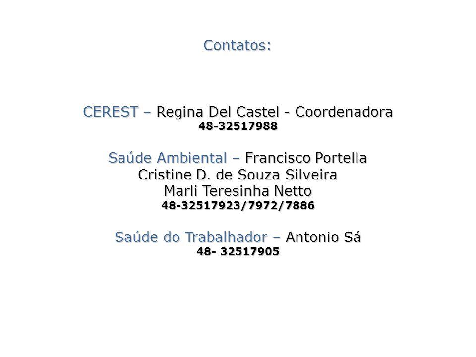 Contatos: CEREST – Regina Del Castel - Coordenadora 48-32517988 Saúde Ambiental – Francisco Portella Cristine D.
