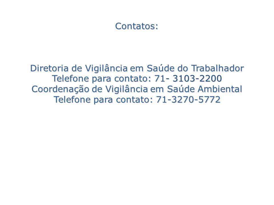 Contatos: Diretoria de Vigilância em Saúde do Trabalhador Telefone para contato: 71- 3103-2200 Coordenação de Vigilância em Saúde Ambiental Telefone para contato: 71-3270-5772