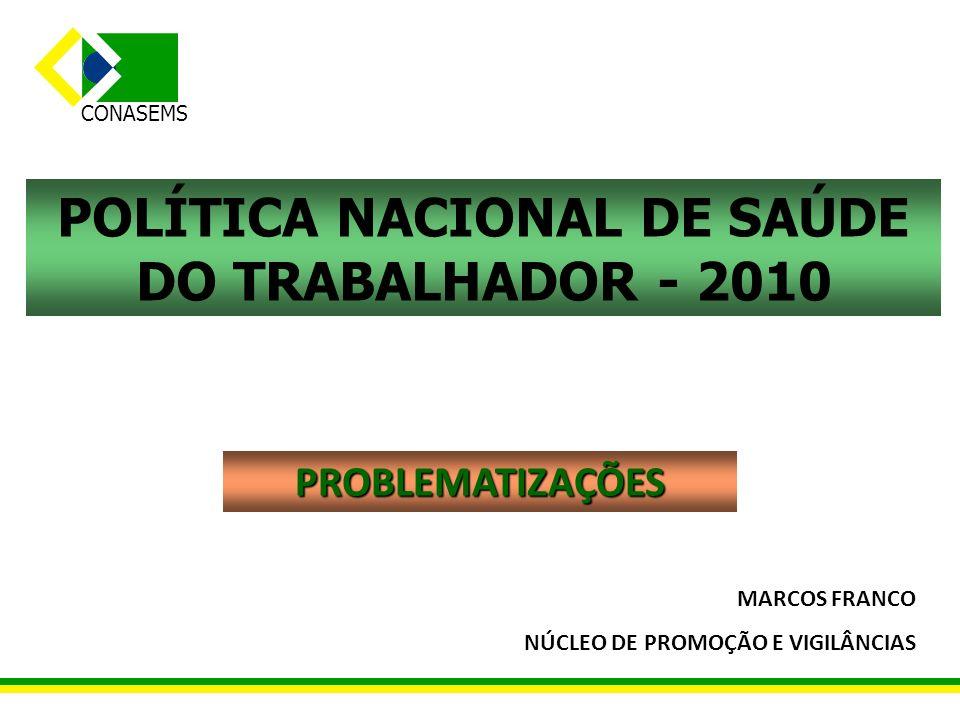 POLÍTICA NACIONAL DE SAÚDE DO TRABALHADOR - 2010