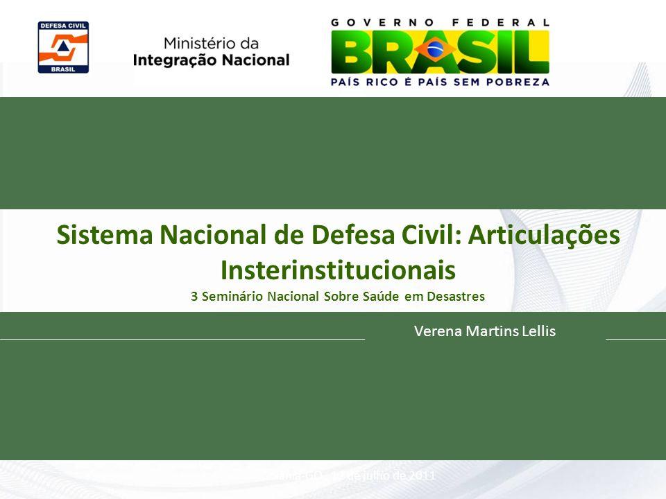 Sistema Nacional de Defesa Civil: Articulações Insterinstitucionais 3 Seminário Nacional Sobre Saúde em Desastres