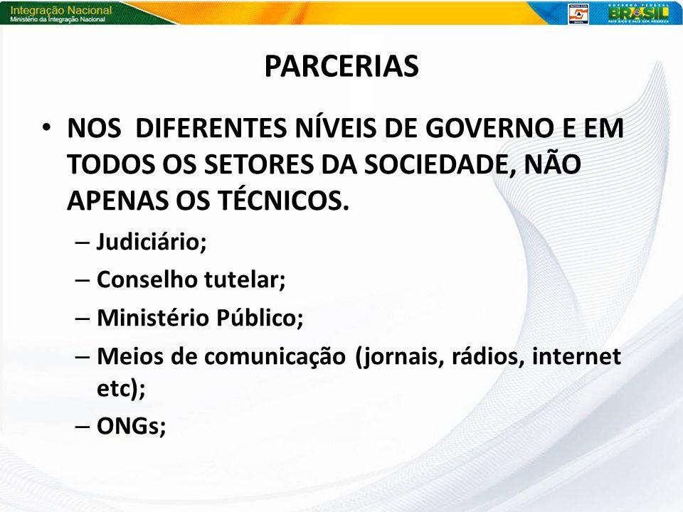 PARCERIAS NOS DIFERENTES NÍVEIS DE GOVERNO E EM TODOS OS SETORES DA SOCIEDADE, NÃO APENAS OS TÉCNICOS.