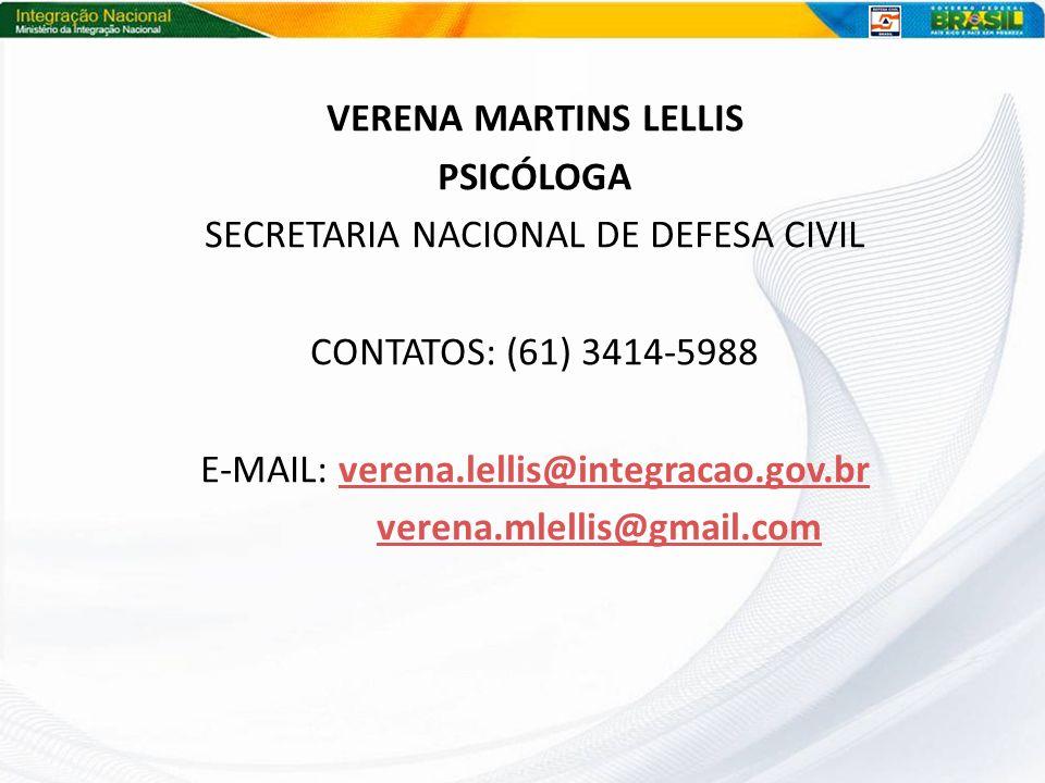 Verena Martins Lellis Psicóloga verena.mlellis@gmail.com