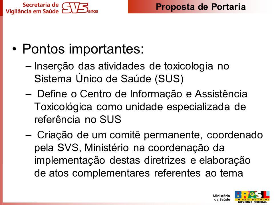 Proposta de Portaria Pontos importantes: Inserção das atividades de toxicologia no Sistema Único de Saúde (SUS)