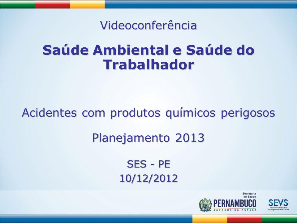 Videoconferência Saúde Ambiental e Saúde do Trabalhador Acidentes com produtos químicos perigosos Planejamento 2013.