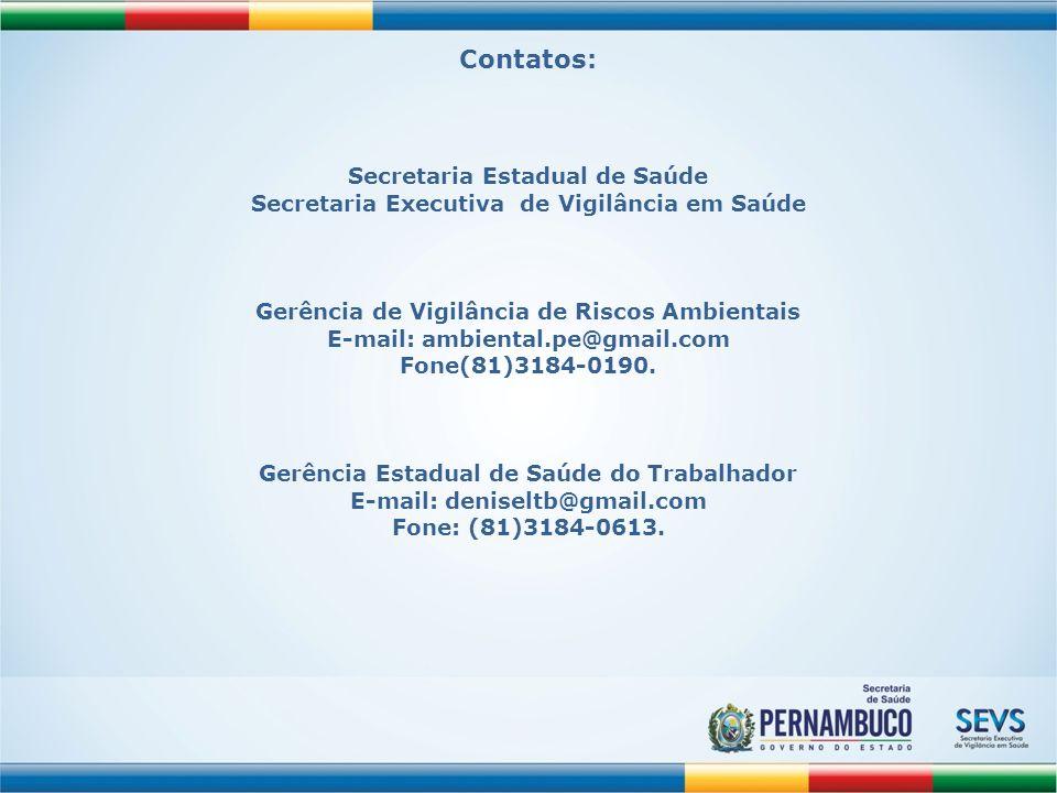 Contatos: Secretaria Executiva de Vigilância em Saúde