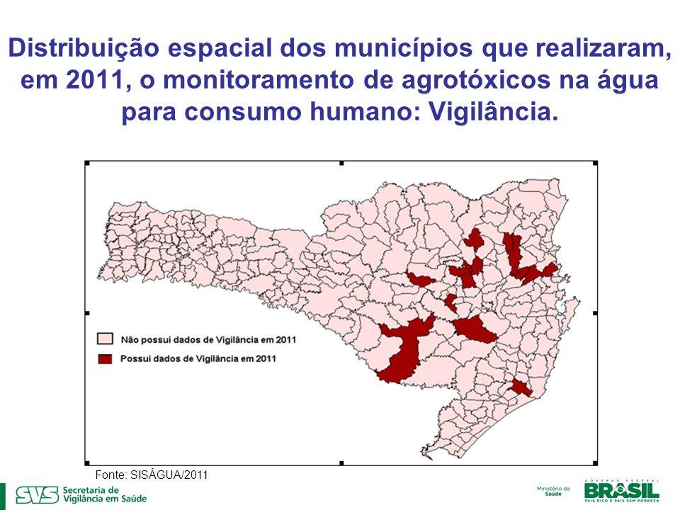 Distribuição espacial dos municípios que realizaram, em 2011, o monitoramento de agrotóxicos na água para consumo humano: Vigilância.