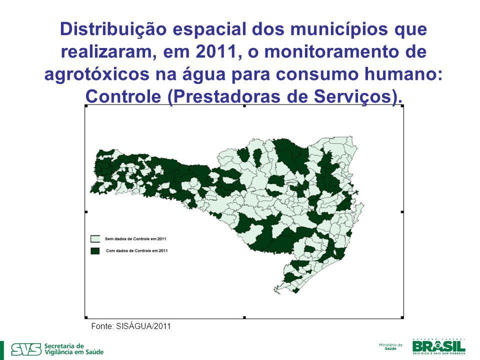 Distribuição espacial dos municípios que realizaram, em 2011, o monitoramento de agrotóxicos na água para consumo humano: Controle (Prestadoras de Serviços).