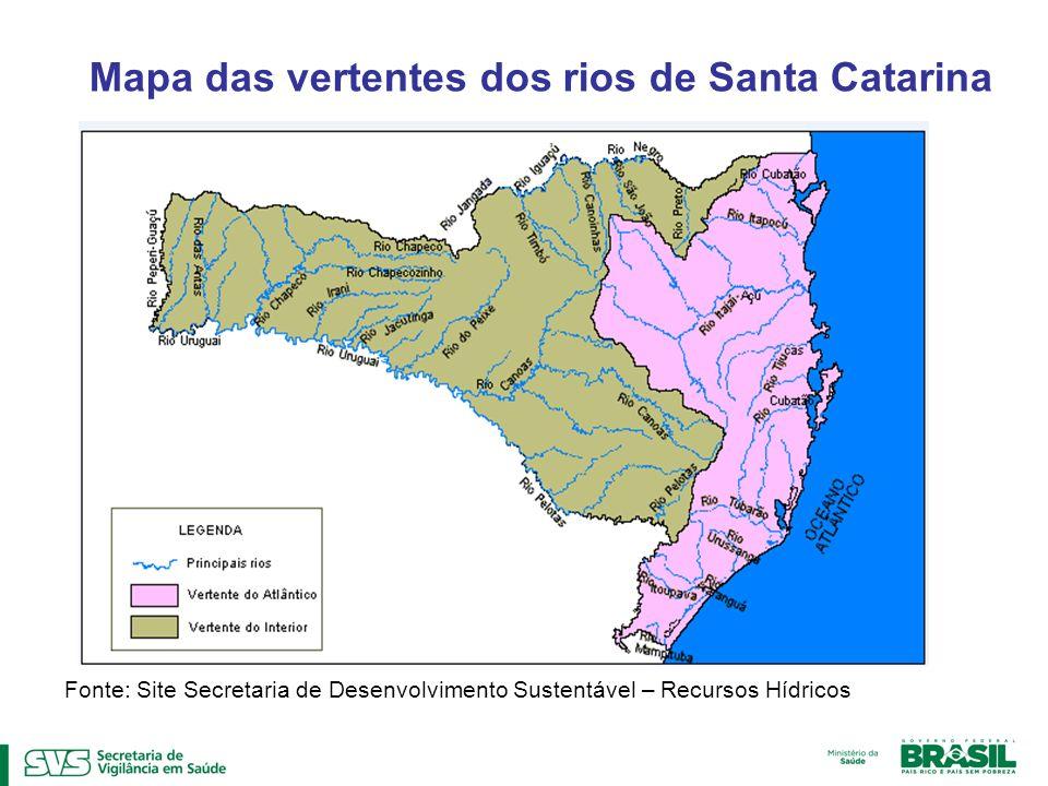 Mapa das vertentes dos rios de Santa Catarina