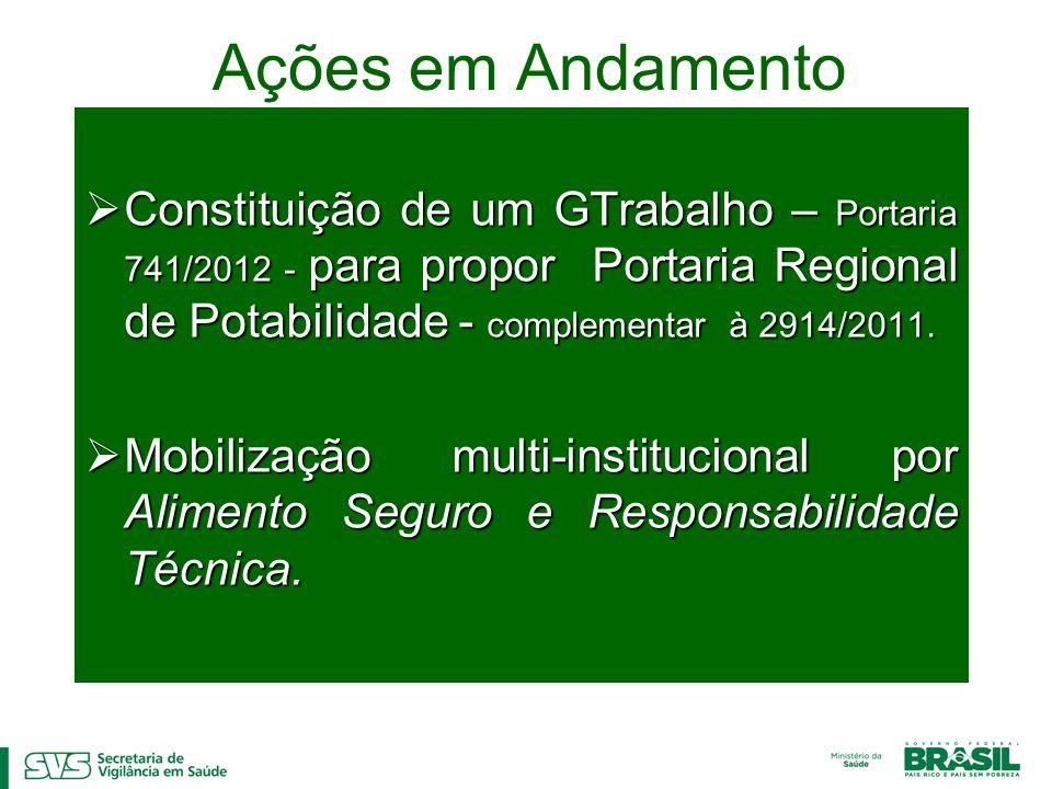 Ações em Andamento Constituição de um GTrabalho – Portaria 741/2012 - para propor Portaria Regional de Potabilidade - complementar à 2914/2011.