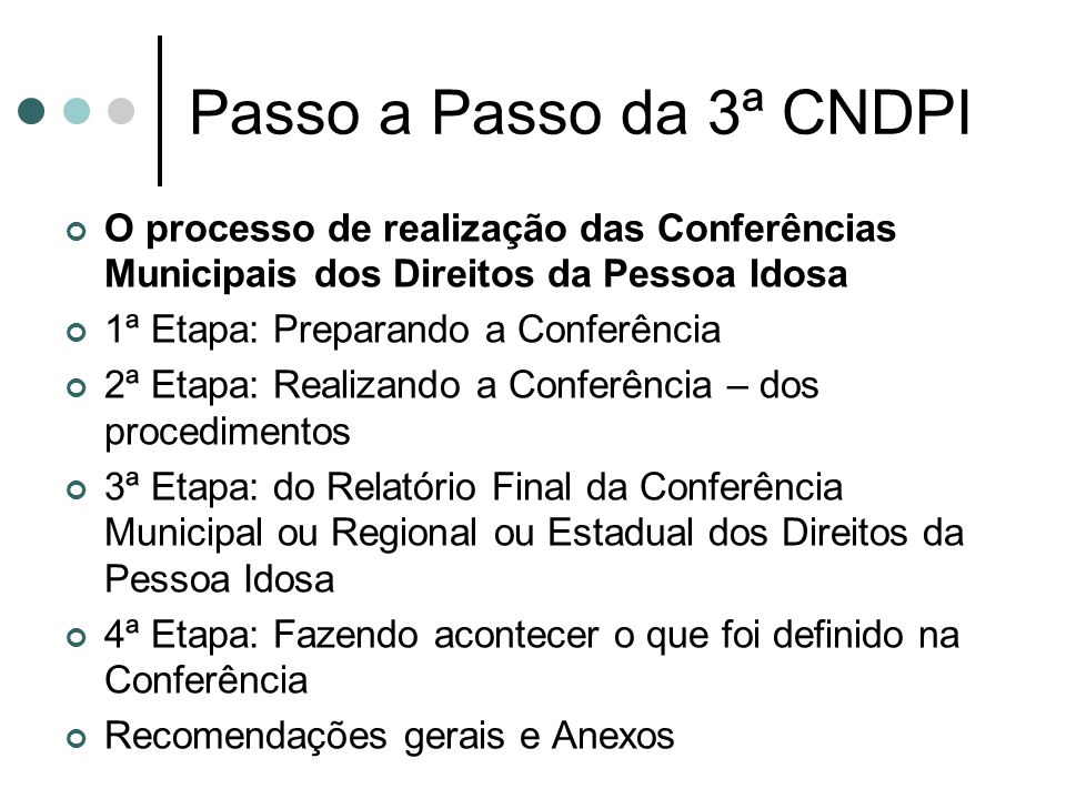 Passo a Passo da 3ª CNDPI O processo de realização das Conferências Municipais dos Direitos da Pessoa Idosa.