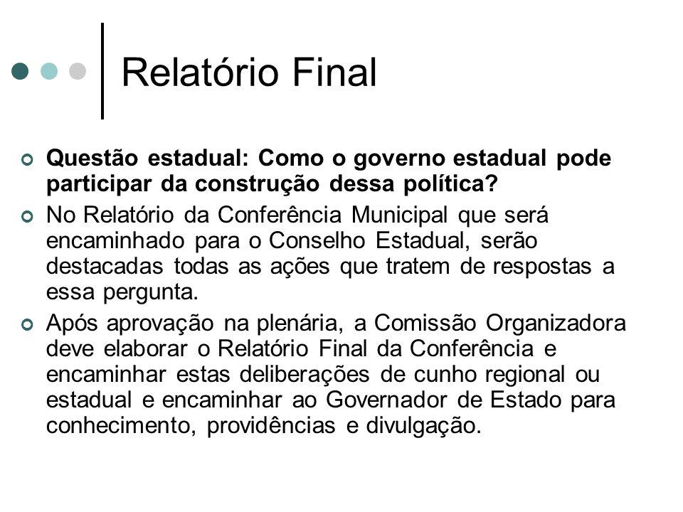 Relatório Final Questão estadual: Como o governo estadual pode participar da construção dessa política