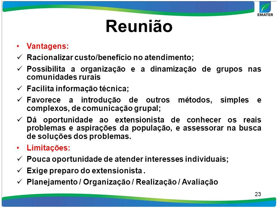 Reunião Vantagens: Racionalizar custo/benefício no atendimento;