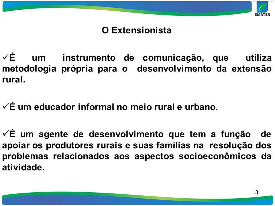 É um educador informal no meio rural e urbano.