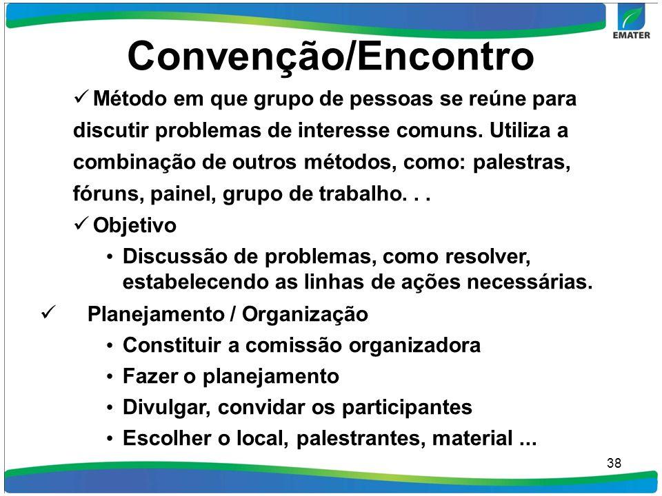 Convenção/Encontro Método em que grupo de pessoas se reúne para