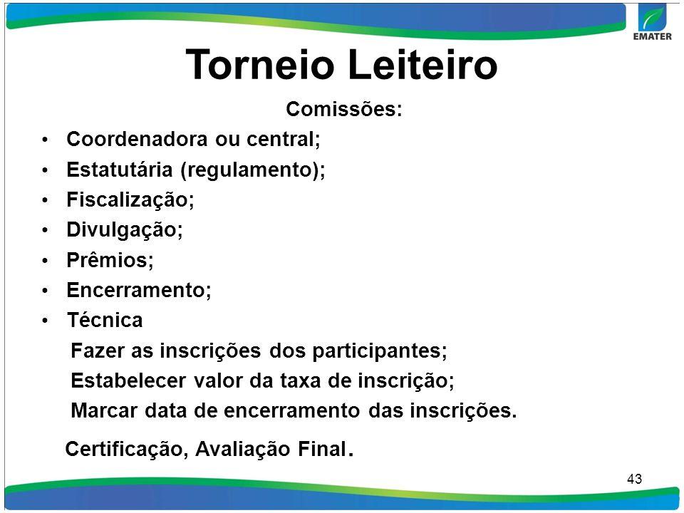 Torneio Leiteiro Comissões: Coordenadora ou central;