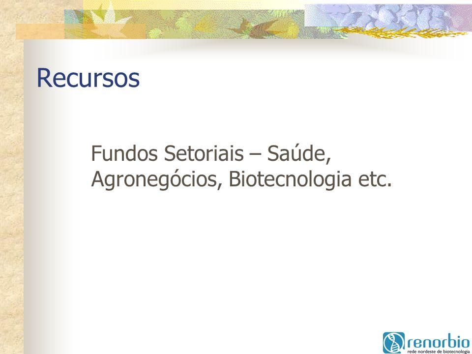 Recursos Fundos Setoriais – Saúde, Agronegócios, Biotecnologia etc.