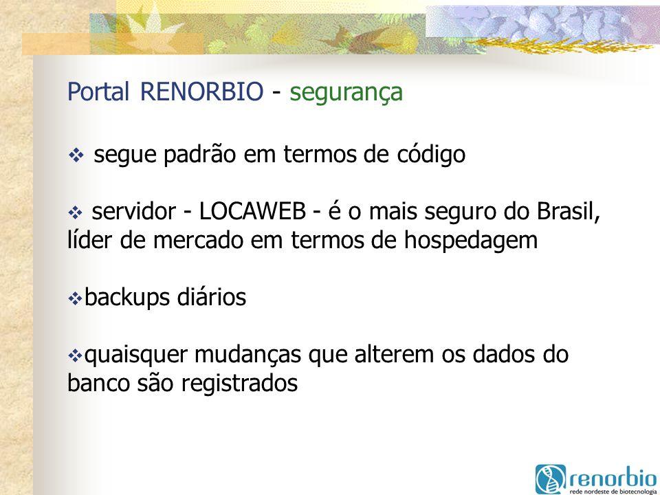 Portal RENORBIO - segurança segue padrão em termos de código