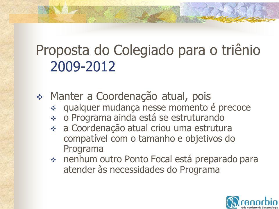 Proposta do Colegiado para o triênio 2009-2012