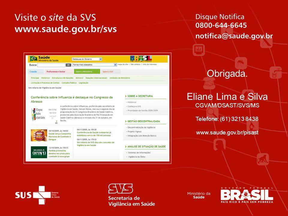 Obrigada. Eliane Lima e Silva CGVAM/DSAST/SVS/MS