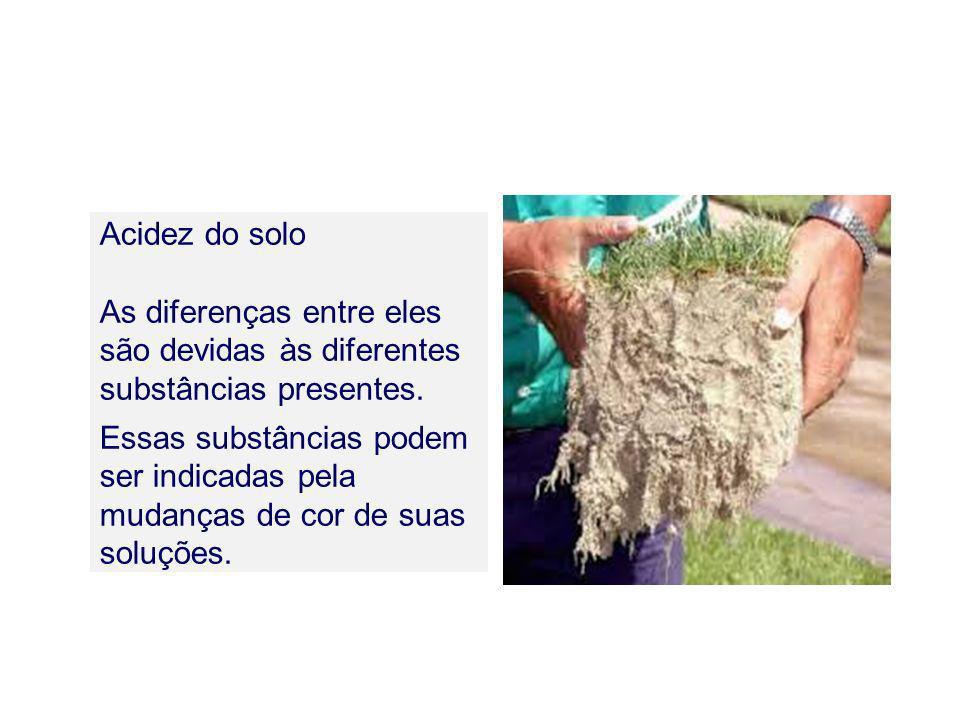 Acidez do solo As diferenças entre eles são devidas às diferentes substâncias presentes.