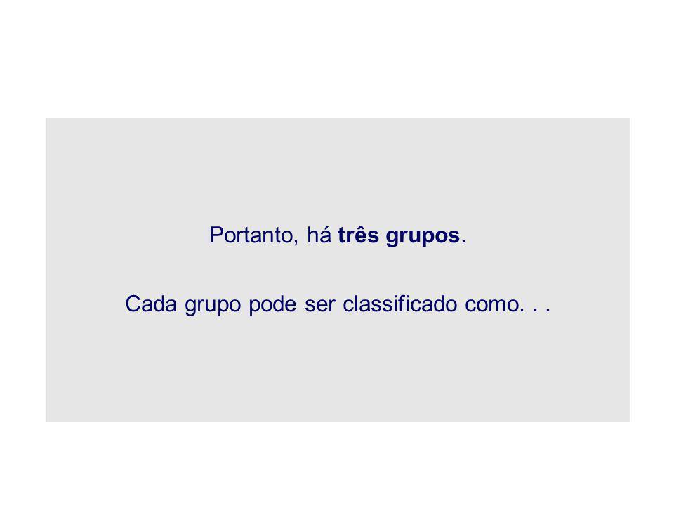 Portanto, há três grupos.