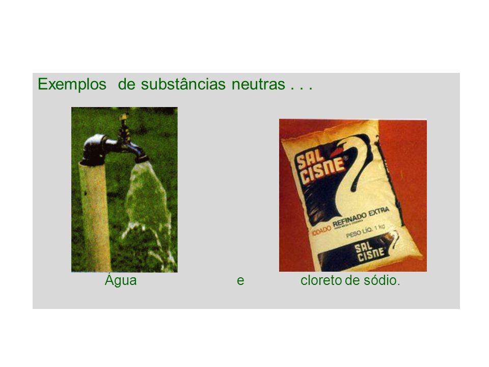 Exemplos de substâncias neutras . . .