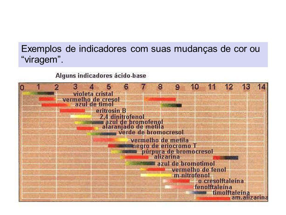 Exemplos de indicadores com suas mudanças de cor ou viragem .