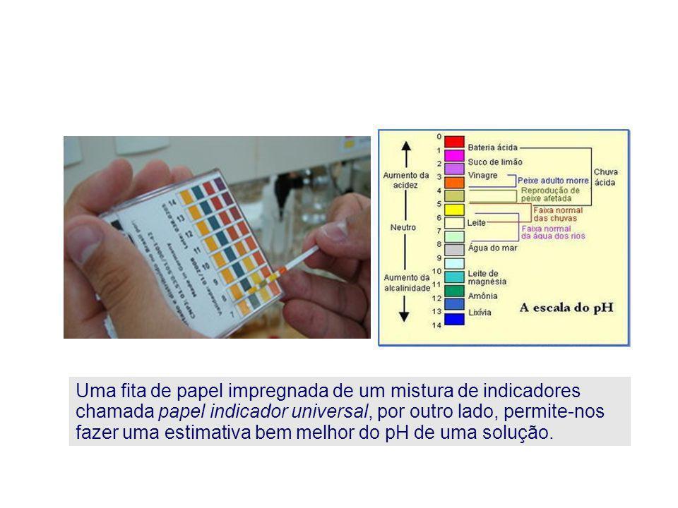 Uma fita de papel impregnada de um mistura de indicadores chamada papel indicador universal, por outro lado, permite-nos fazer uma estimativa bem melhor do pH de uma solução.
