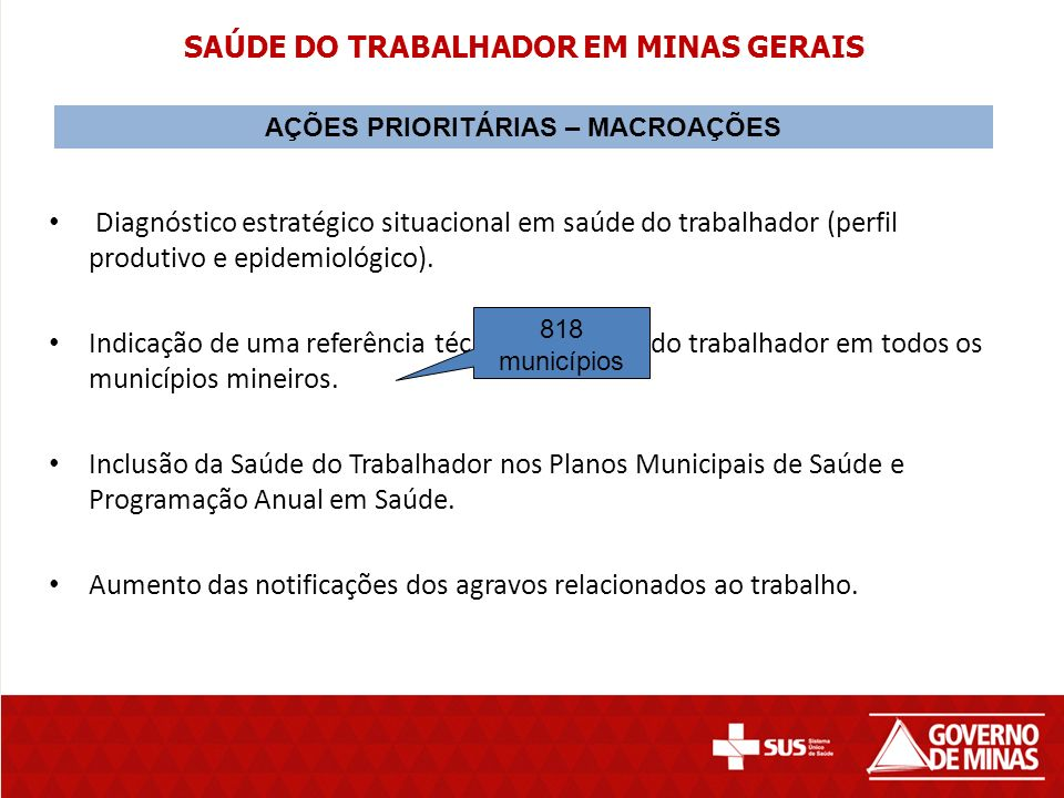 SAÚDE DO TRABALHADOR EM MINAS GERAIS