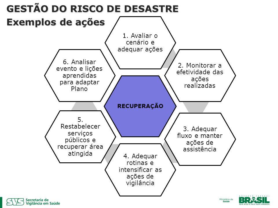 GESTÃO DO RISCO DE DESASTRE Exemplos de ações
