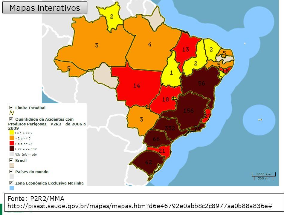 Mapas interativos Fonte: P2R2/MMA